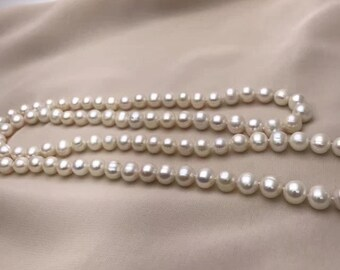 """Quality Elegent Genuine Cultured Freshwater 9mm white Pearl necklace white 36"""" /90cm"""