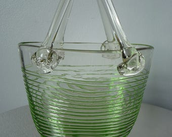 Vintage Retro Green Blown Art Glass Handbag Vase