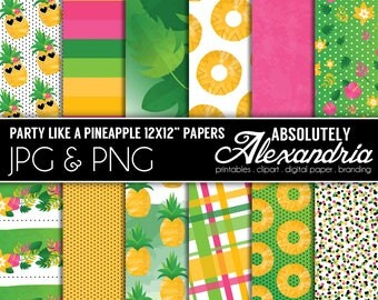 Party Like a Pineapple Digital Papers - Personal & Commercial Use - Summer Paper, Floral Fruit Graphics,  Patterns, Party Scrapbook Page Kit