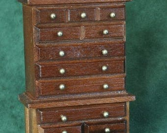 Miniature Highboy, dresser, chest of drawers, 1:12 scale