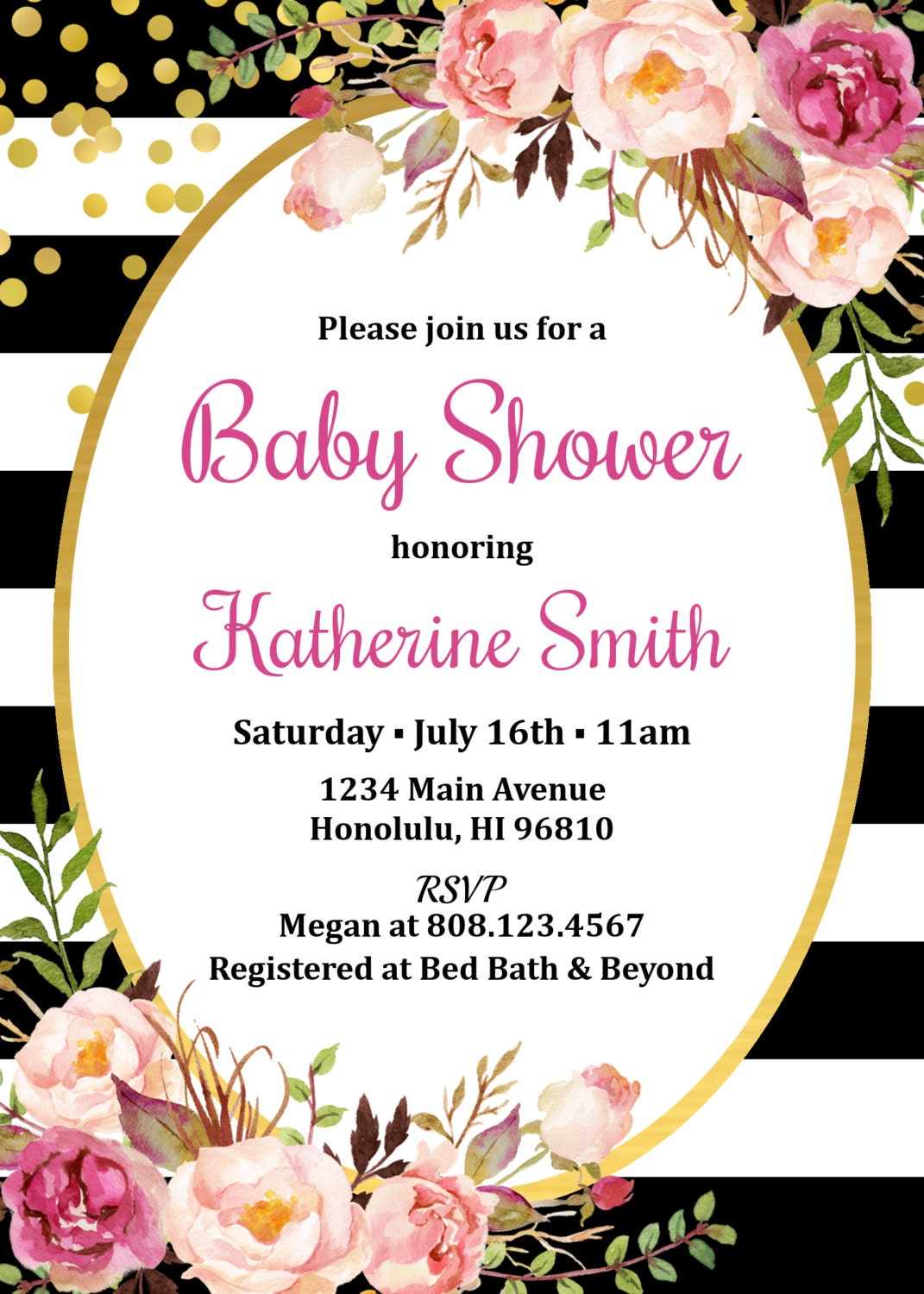 Floral Baby Shower Invitation, Black & White Baby Shower Invitation ...
