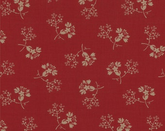 By The HALF YARD - Floral Gatherings by Primitive Gatherings for Moda, Pattern #1100-11 Cream Flowers and Twigs on Maroon Red