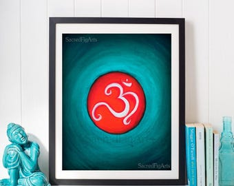 om painting, turquoise wall art, bright canvas, indian spiritual decor, hindu artwork, energy healing, positive sacred, pooja altar