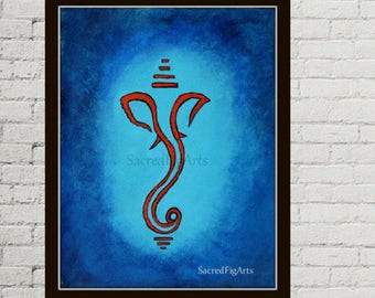 blue painting, meditation art, hindu god ganesh, ganesha on canvas, minimal painting, acrylic ganpati, yoga studio decor, contemporary art