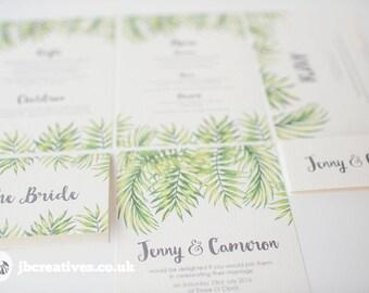 Tropical Leaf Wedding Invitations