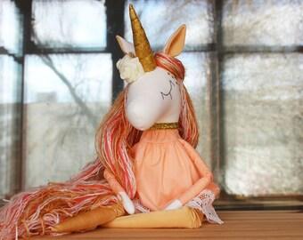 Unicorn Avery  - Handmade Toy- Magic Unicorn-Rainbow Unicorn-Soft Toy- Textile Toy- Gold Unicorn-Unicorn Toy-Unicorn Doll-Unicorn Party