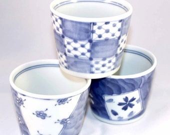 3 cups for tea/coffee blue and white pattern Japanese very nice gift