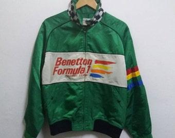 Vintage Benetton Bomber Spellout zipper jacket/green/medium/italy design/racing team