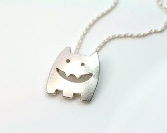 Trailer laughing Monster 925 Silver necklace FangFrisch unique designer jewellery motif pendant hand made in Germany