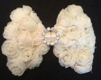 Ivory 3D Chiffon Rose Hair Bow