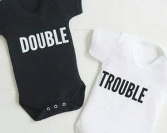 Twin baby double trouble vests bodysuits Other colour options