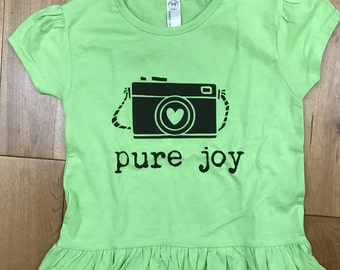 Pure joy toddler tee, green, screen printed tshirt