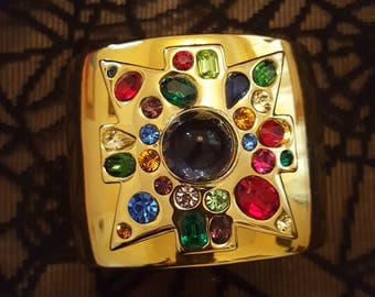RARE Kenneth Jay Lane Gold Plate Maltese Cross Cuff