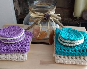 Cotton washcloths and make up pads / face cloths / crochet 100% cotton / eco-friendly / exfoliating