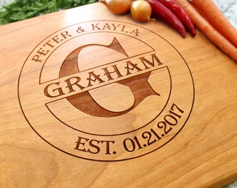 Personalized Cutting Board - Engraved Cutting Board, Custom Cutting Board, Wedding Gift, Housewarming Gift, Anniversary Gift W-016 GB