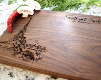 Paris City View Design- Engraved Cutting Board, Custom Cutting Board, Wedding Gift, Housewarming Gift, Engagement W-047 GB