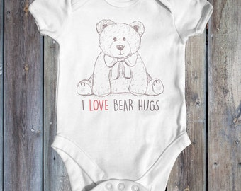 I Love Bear Hugs Baby Bodysuit | Animal Baby Bodysuit | Cute Baby Clothes | Funny Baby Bodysuit | Baby Shower Gift | Newborn Baby Clothes