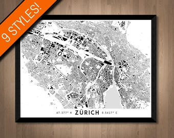 Buildings of Zurich map art | High-res digital Switzerland map print, Zurich print, Zurich poster, Zurich art, Printable Zürich wall art