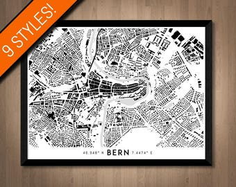 Buildings of Bern map art | High-res digital Switzerland map print, Bern print art, Bern poster, Bern art, Printable Bern map, Bern wall art