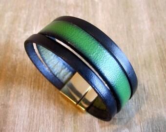 Black/green leather Cuff Bracelet. Plate loving Golden 20MM clasp