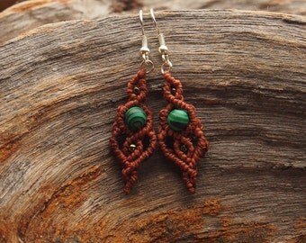 Earrings Green Peace with Malachite
