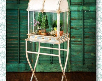 Large Terrarium with Stand // French Country // Vintage Farmhouse // Shabby Chic // Terrarium // Home Decor // Plant Holder