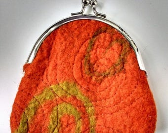 Embroidered felt, clip top purse