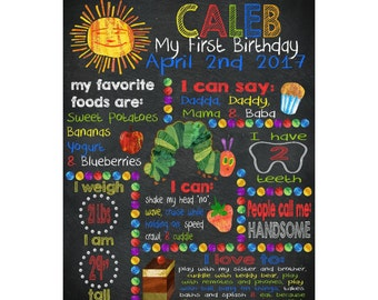 The Very Hungry Caterpillar, first birthday, chalkboard, digital image, birthday board, invitation chalk, JPEG