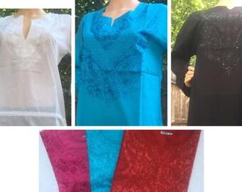 Variety of Embroidered Cotton Kurtas