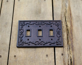 Cast Iron Triple Light Switch Plate Cover