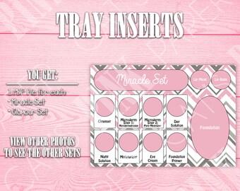 Tray Inserts | Pink & Gray Chevron | Miracle Set | Glamour Set