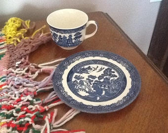 Vintage Blue Willow Johnson Bros plate & cup
