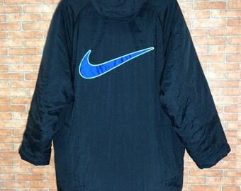 Rare!!! Vintage Nike Parka Hoodie Bomber Jacket Vtg Nike Big Swoosh Embroidery L size