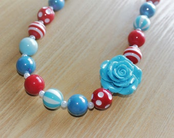 Blue Flower Pendant with Red Accents, Dr Seuss Inspired Chunky Bead Necklace