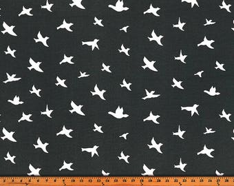 Outdoor Bird Silhouette Cavern, Polyester, Fabric by the Yard