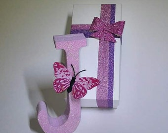 Personalised wooden glitter letter/gift boxed/free standing