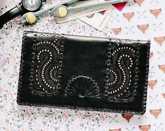 Qwipas Black Oversized Genuine Leather Wallet Women Wallet Slim Tablet Handphone Zipper Cards Clutch Organizer Wallet Big Wallet