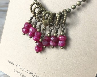 Knitter's Stitch Marker Set - 7pc Faceted Ruby Gemstone Hand Made Knitting Stitch Markers and Progress Keeper by WIPyarns