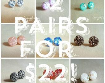 2 Pairs of Full price Hypoallergenic Earrings for 22 Dollars