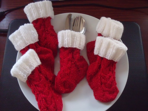 set of 6 Christmas stocking cutlery socks