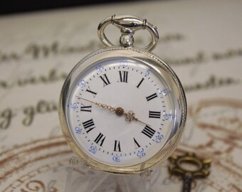 Gorgeous Antique Solid Silver Key Wind Pocket Watch - Amiot and De La Bastide a la Palisse