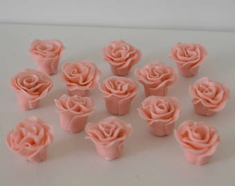 Cupcake toppers - Gum paste mini roses - Set of 12