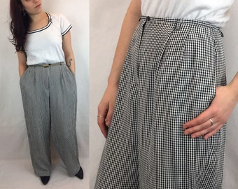 1990s Wide Leg Pants | Black and White Lightweight Gingham Checked High Waisted Pants with Light Pleats | Ann Taylor