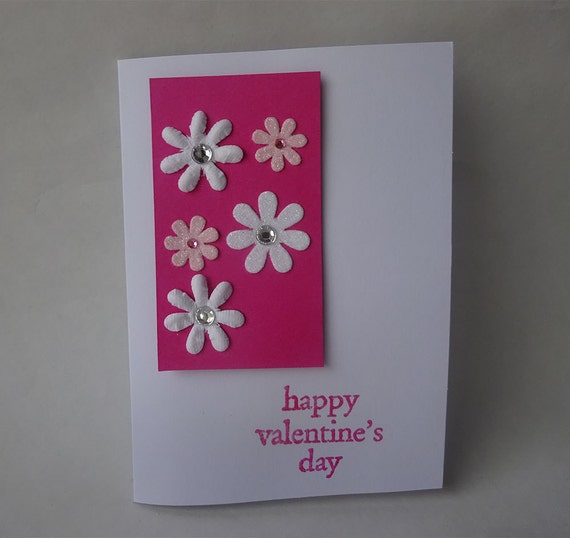 Sale! Valentine's Card - Handmade Card with Flowers - H3