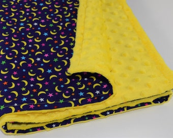 "Moon & Stars Baby / Toddler Minky Blanket - 100% Cotton - 33"" x 39"" - 84 x 99 cm - Navy, Yellow"