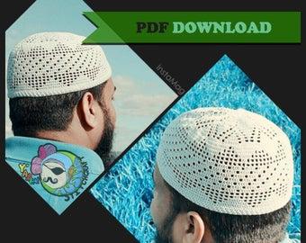 PDF PATTERN Triangle Filet Kufi Topee Topi Prayer Cap Islamic Muslim