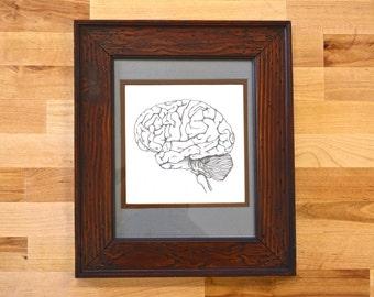 brain anatomy drawing brain art framed art brain drawing anatomy art - Yoga Anatomy Coloring Book