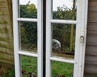 Antique French Window frame mirrors, pair, metal fittings, original paint, shabby chateau chic