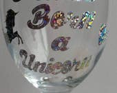 Unicorn wine glass, fantasy unicorn, gift for her, unicorn gift, mythical unicorn, wine o'clock