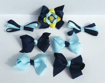 School uniform hairbows, 7 piece set personalised bows, uniform alice bands, matching bow set, hair clips with school logo, badge hair clips